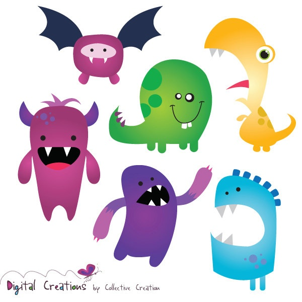 Little Monster Digital Clip Art Bright Colorful Silly Monsters   Ideal