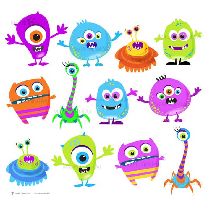 Monster Clipart Clip Art Digital Monster Cute Little Silly Monsters