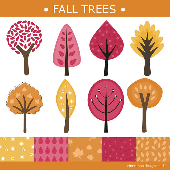Trees Clip Art And Digital Paper Set   Personal And Commercial Clipart