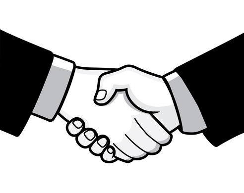 Black White Handshake Clipart - Clipart Kid