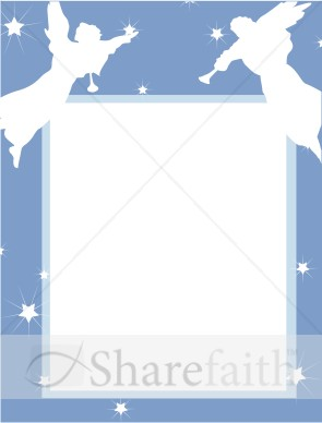 blue star frame with angel cut outs religious borders