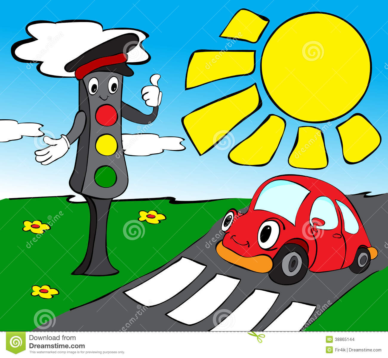 Cartoon Traffic Light Traffic Lights With Red Car