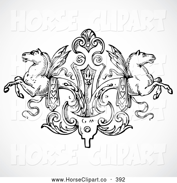 Clip Art Of A Pretty Black And White Winged Horse Design Element By