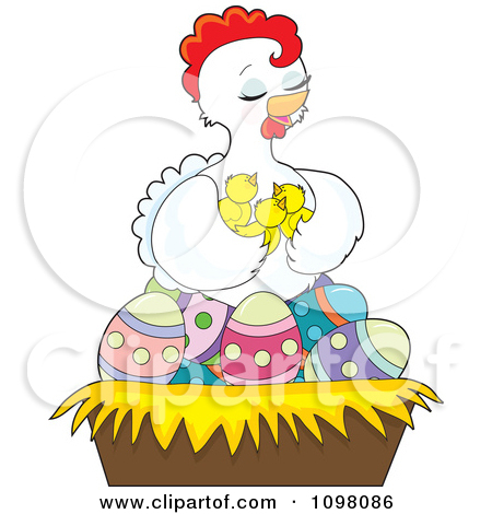 Clipart Loving White Hen Holding Her Chicks In A Nest Of Easter Eggs
