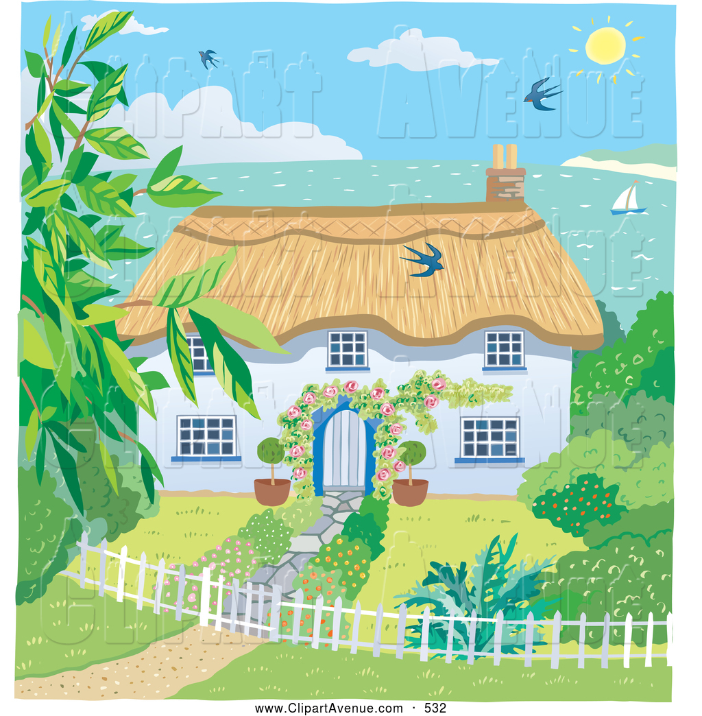 Clipart Of A Bright Painting Of A Cute Cottage With A Landscaped Yard