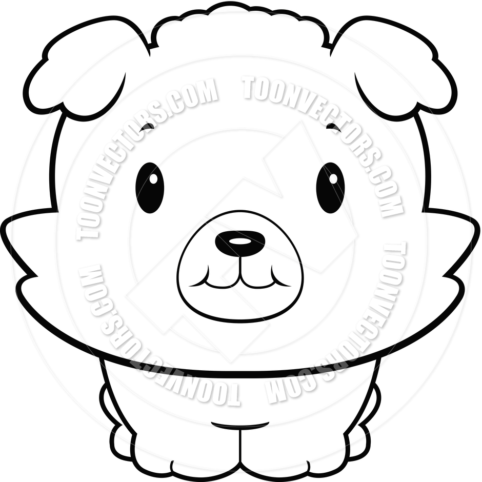 Cute Baby Dog  Black And White Line Art  By Cory Thoman   Toon Vectors