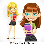 Cute Student Girl With Books Stock Illustrations
