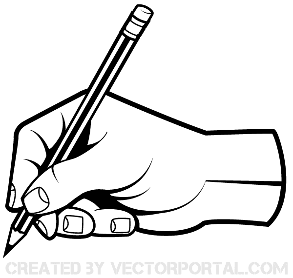Human Hand Holding A Pencil Clip Art   123freevectors
