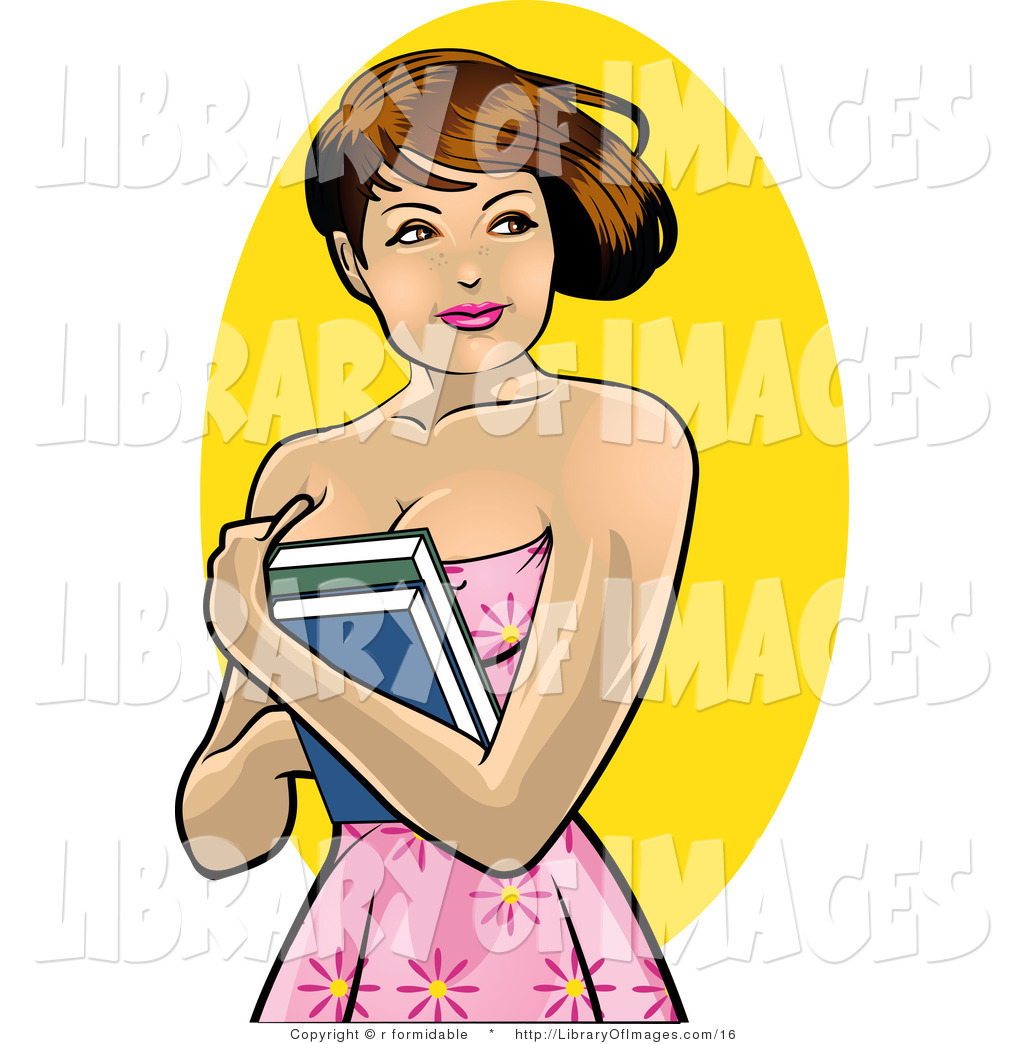 Larger Preview  Clip Art Of A Pretty Brunette College Girl Holding Her