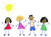 Multicultural Kids   Royalty Free Clip Art