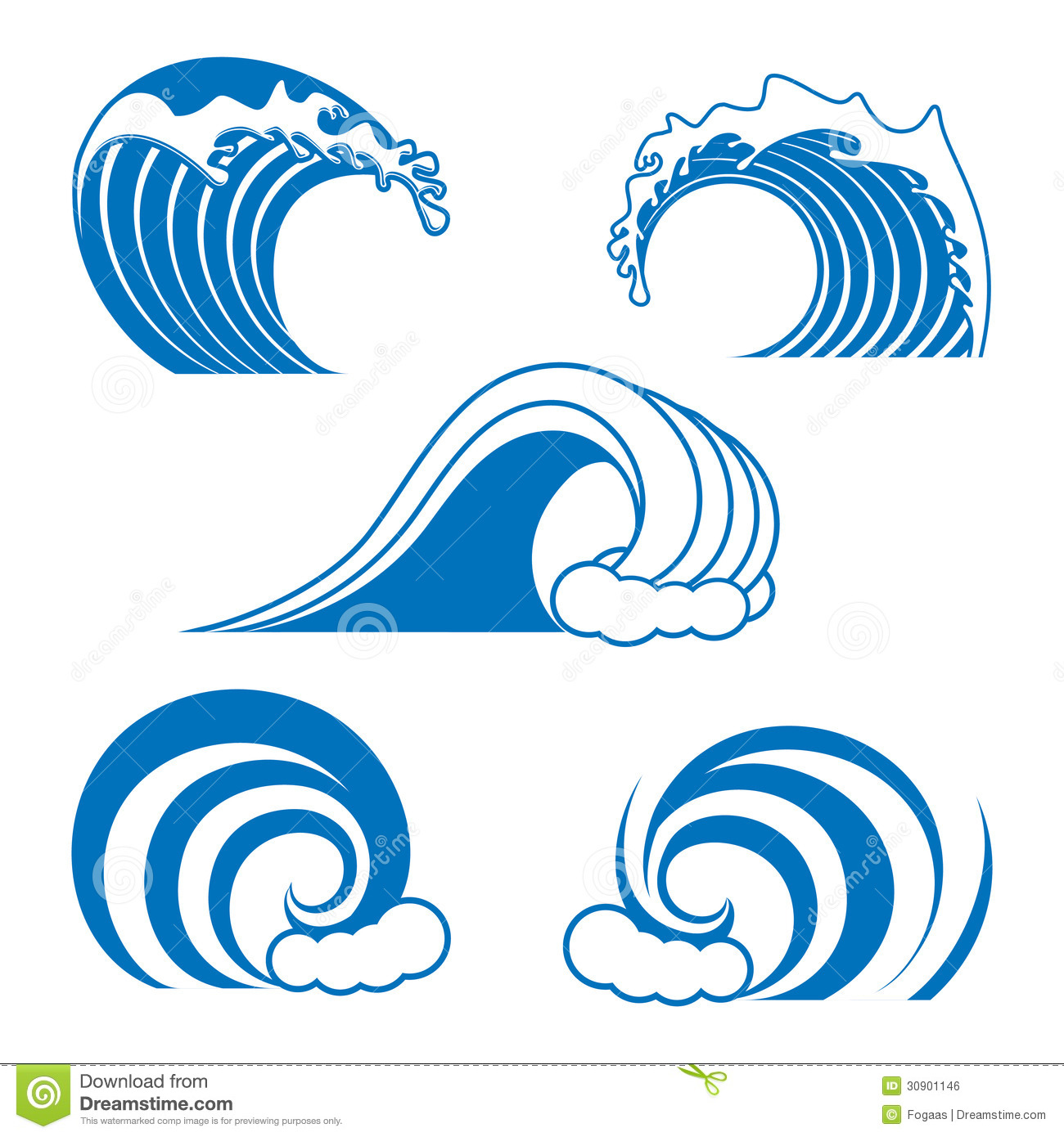 Ocean Wave Contour Set In Blue Color Isolated On The White Background