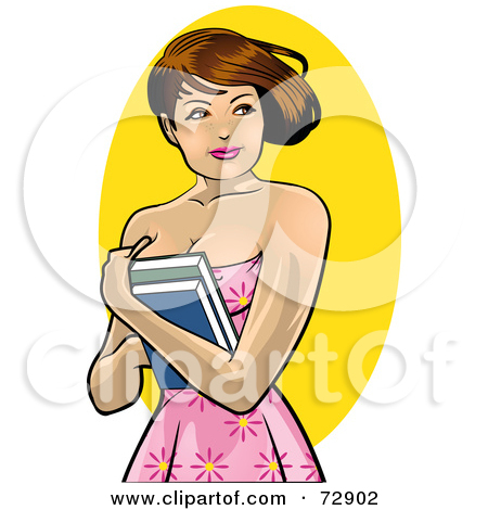 Pretty Brunette College Woman Holding Her Books To Her Chest    By R