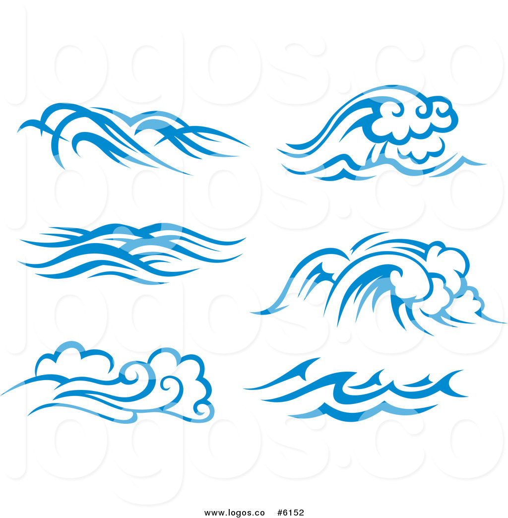 Royalty Free Clip Art Vector Logos Of Blue And White Ocean Surf Waves