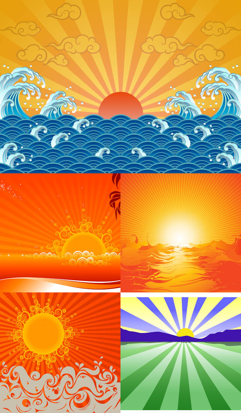 Sunrise And Sunset Vector Set Of 5 Vector Sunrise And Vector