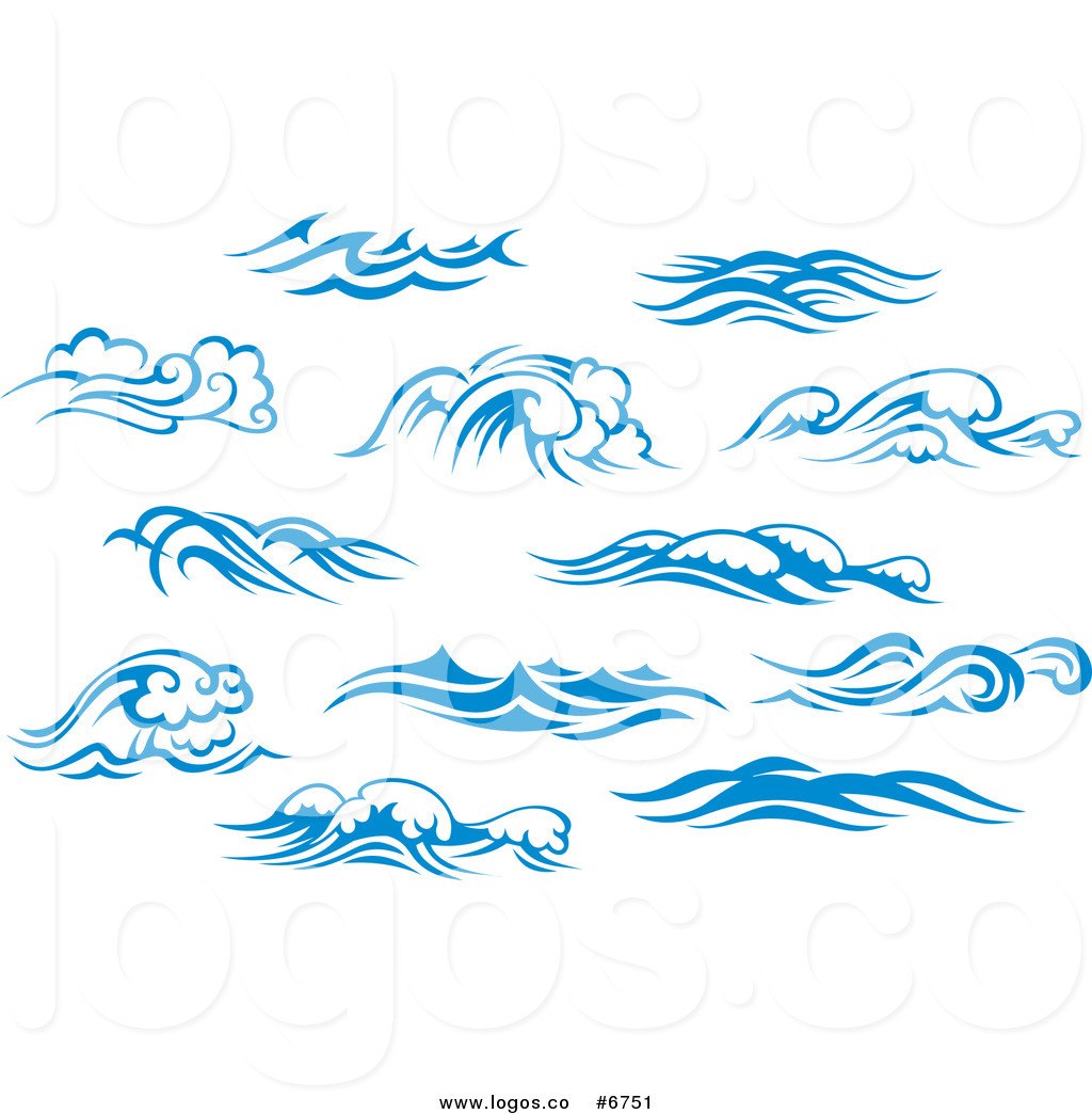 Vector Logos Of Blue And White Ocean Surf Waves By Seamartini Graphics