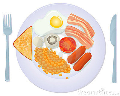 An Illustration Of A Traditional English Breakfast With Fried Egg