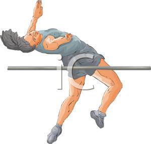 Athlete Clearing The High Bar Jump   Royalty Free Clipart Picture