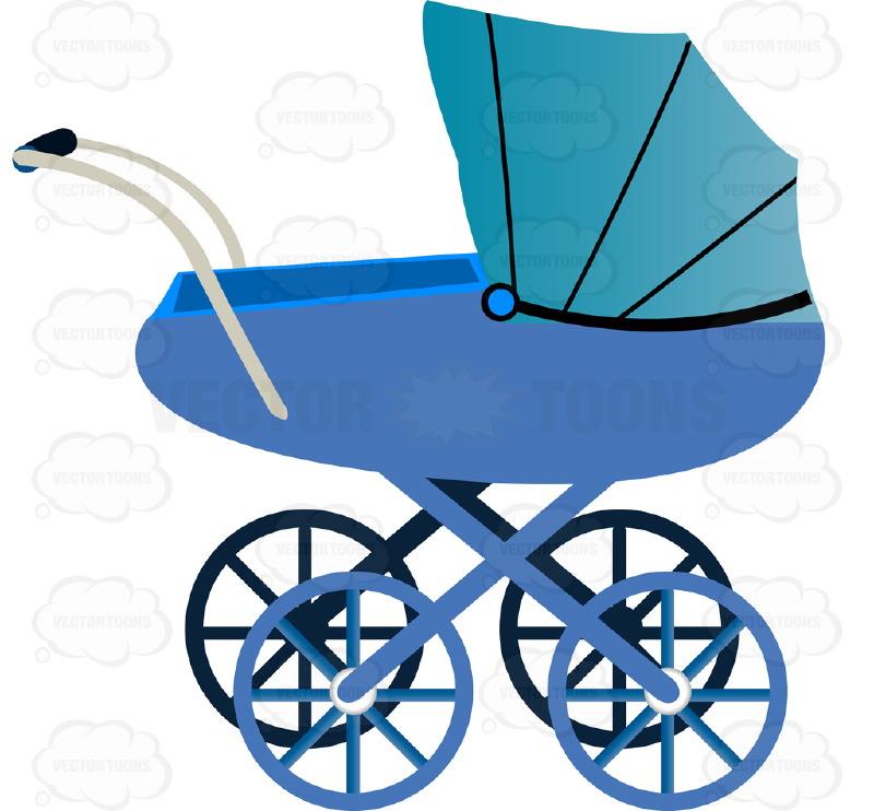 Cartoon Blue Pram Clipart - Clipart Kid