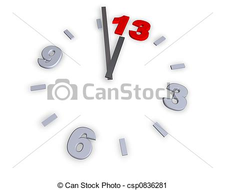 Clipart Of Number 13   Clock With Number 13   3d Illustration
