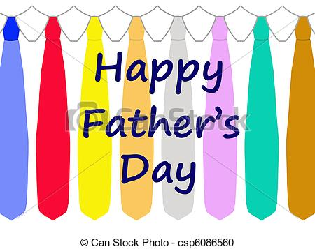 Happy Father S Day Card With A Pattern Of Colorful Ties Isolated On