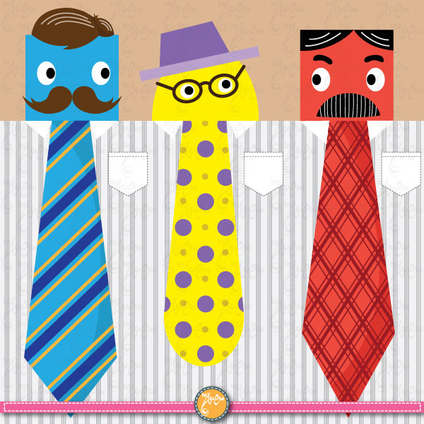 Items Similar To Father S Day Ties   Mustaches Clip Art Ideal For