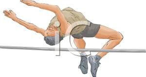 Male Athlete Clearing The High Bar Jump   Royalty Free Clipart Picture