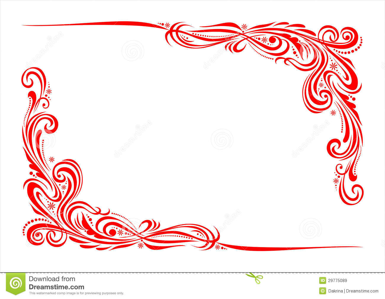 Red White And Blue Borders With Corners Wavy Corner Ornament Stock