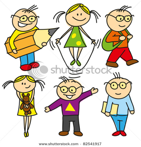 Vector Clip Art Picture Of Cartoon Boys And Girls Children Playing