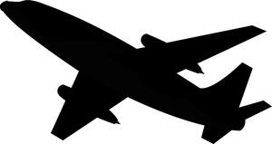 Airplane Clipart Image   Commercial Airliner Or Airplane Silhouette