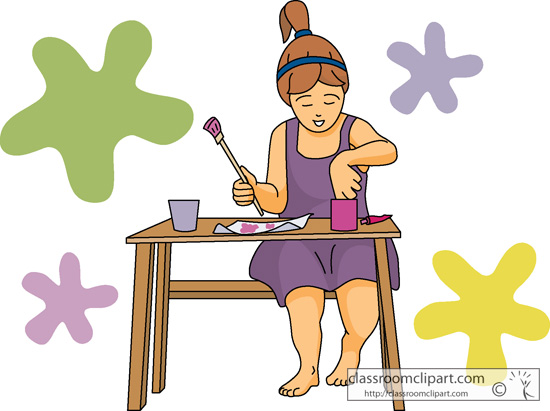 Art Supplies   Girl Painting At Table Art 01   Classroom Clipart