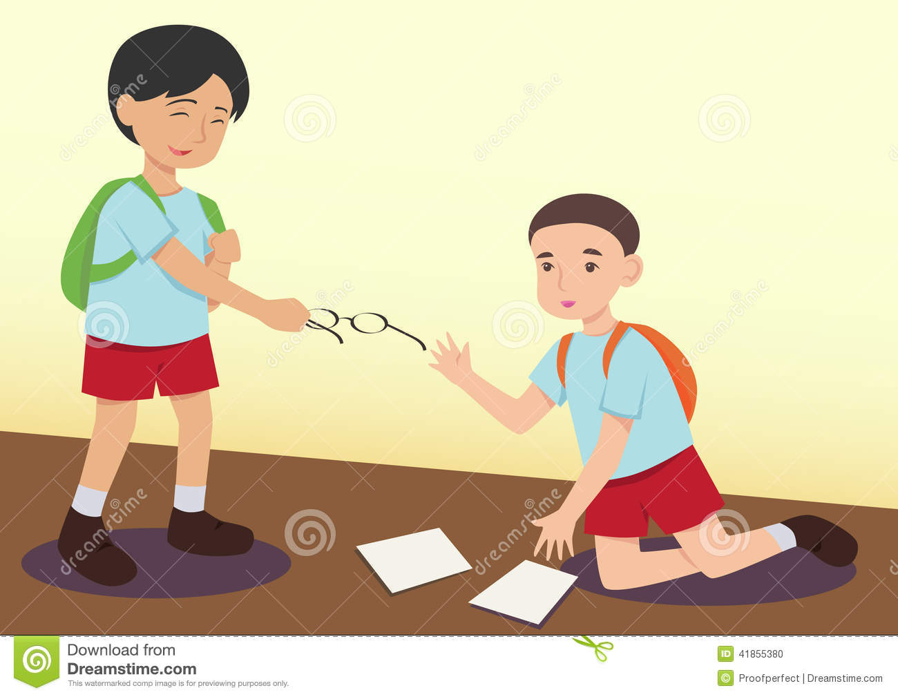 Boy Helping Another Kid Stock Illustration   Image  41855380
