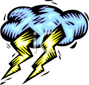 Clipart Image Of Two Bolts Of Lightning In A Cloud
