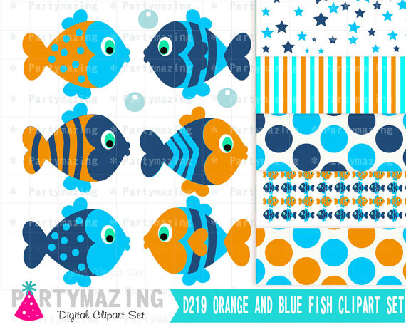 Fish Clipart Set Blue And Orange Under The Sea Fish Clipart Set And