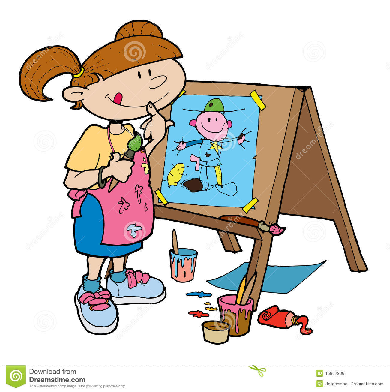 Girl Happily Painting On An Easel Royalty Free Stock Image   Image