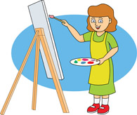Girl Painting With Easel