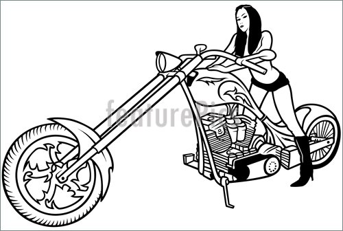 Illustration Of Girl And Chopper  Royalty Free Vector At Featurepics