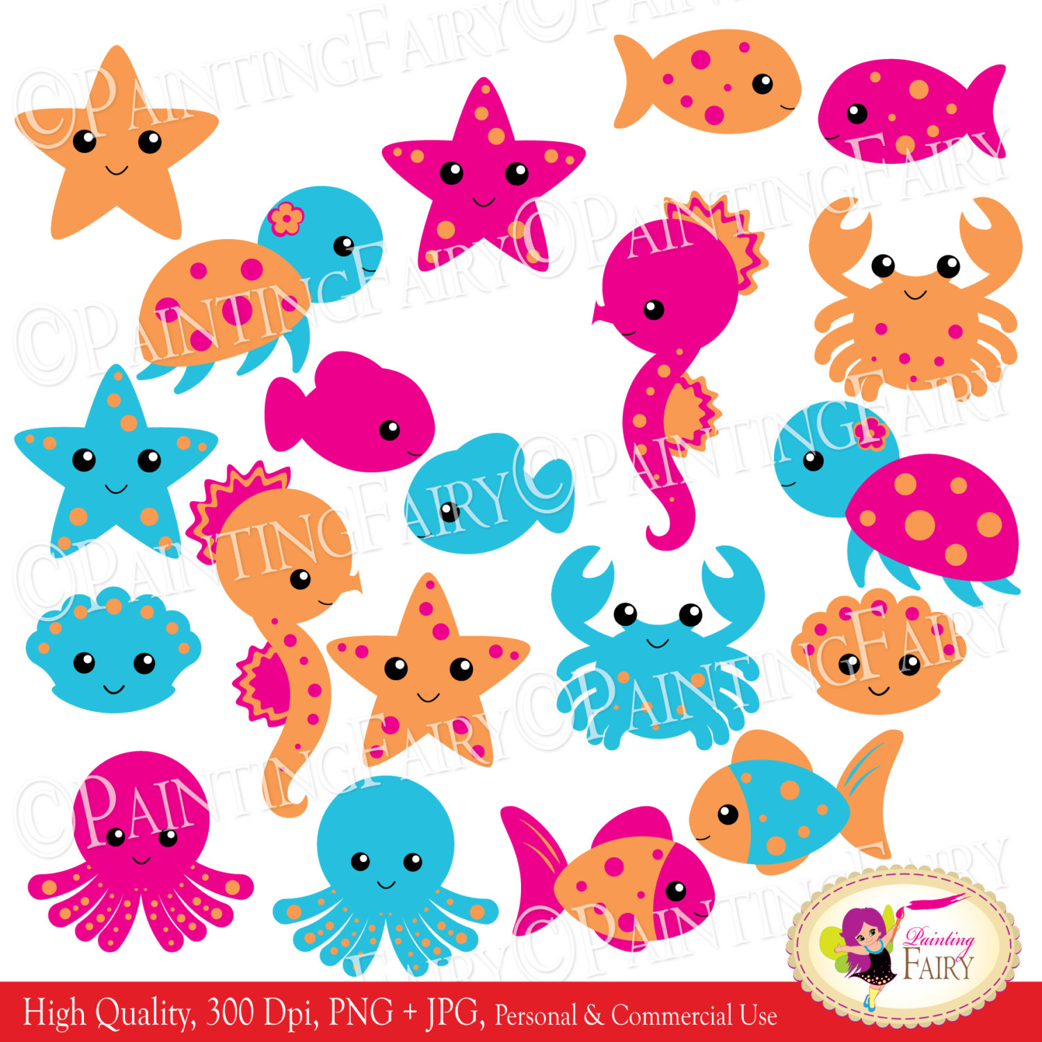 Instant Download Clipart Cute Under The Sea Animals Fish Turtle