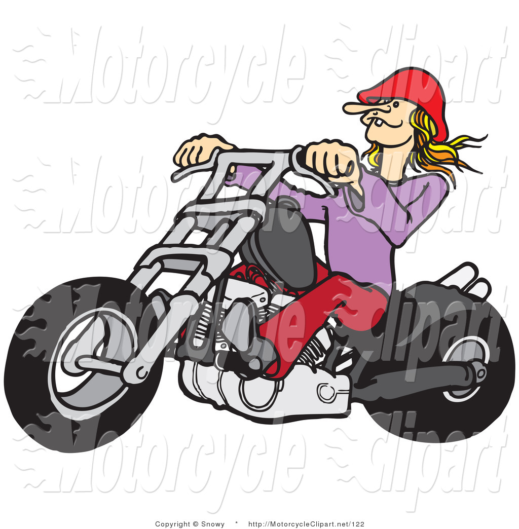 Larger Preview  Transportation Clipart Of A Blond Biker Chick By Snowy