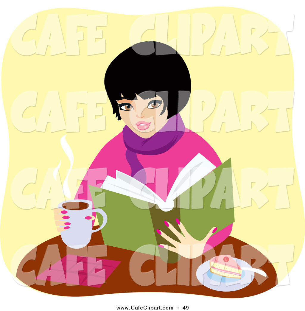 Larger Preview  Vector Clip Art Of A Pretty Warm Woman Drinking Coffee