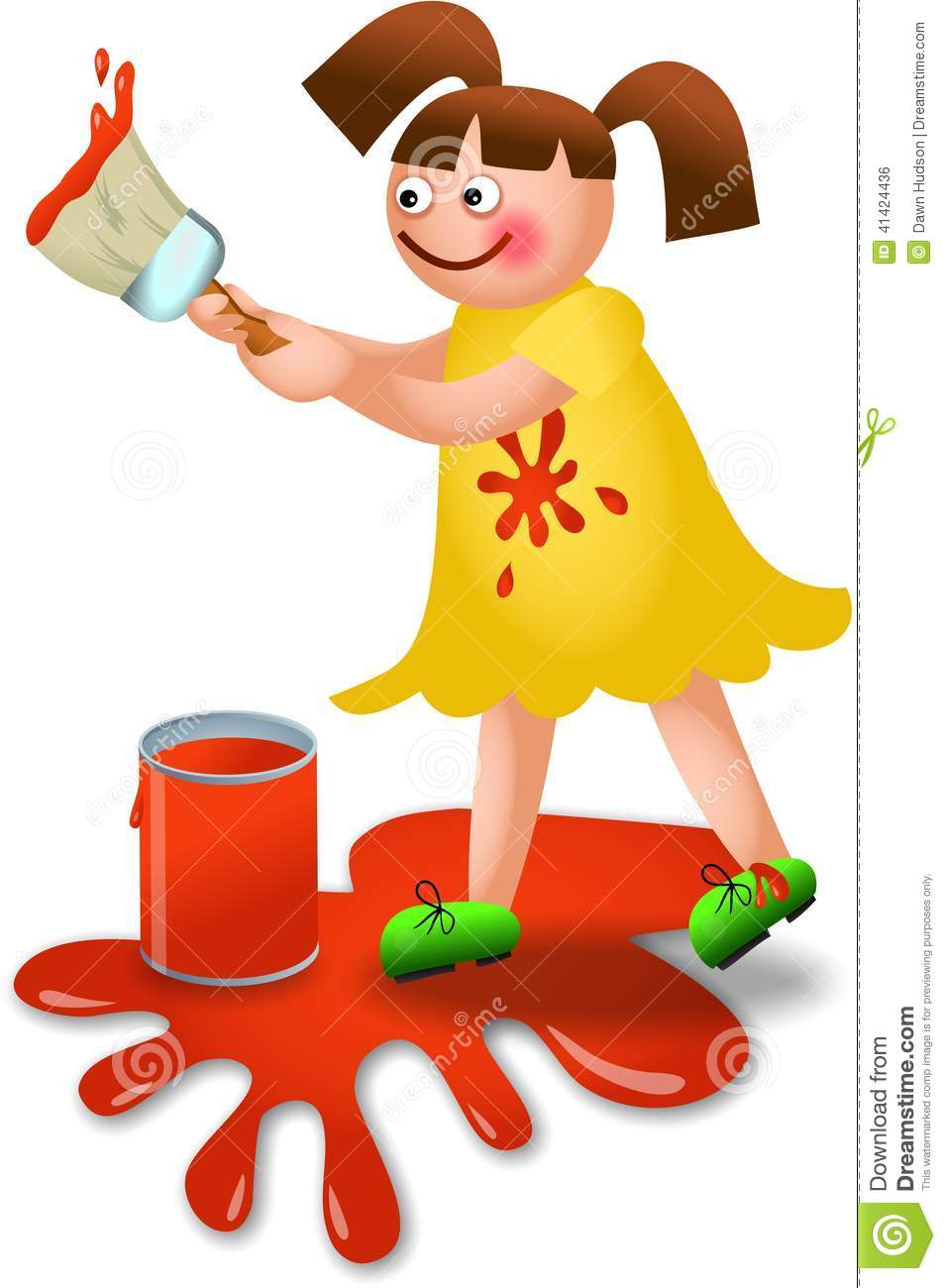 Little Girl Painting Clipart Illustration Cartoon Making Mess 41424436