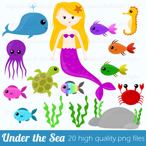 Mermaid Clip Art   Under The Sea   Fish Octopus Crab Great For