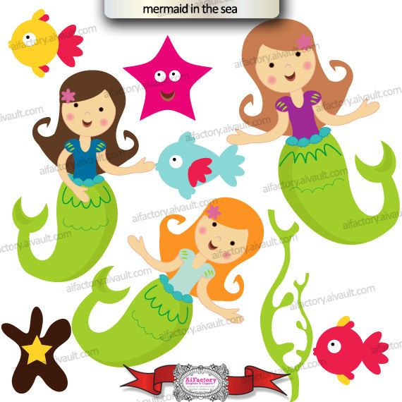 Mermaid Under The Sea Clipart Sea Sea Weeds Mermaids Blonde Dark