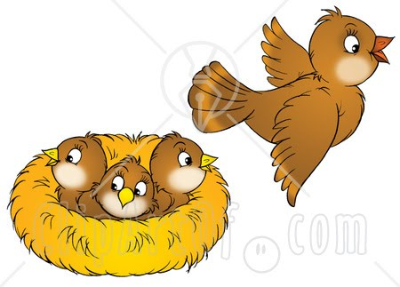 Of A Brown Bird Flying Away From A Nest With Three Baby Birds Jpg