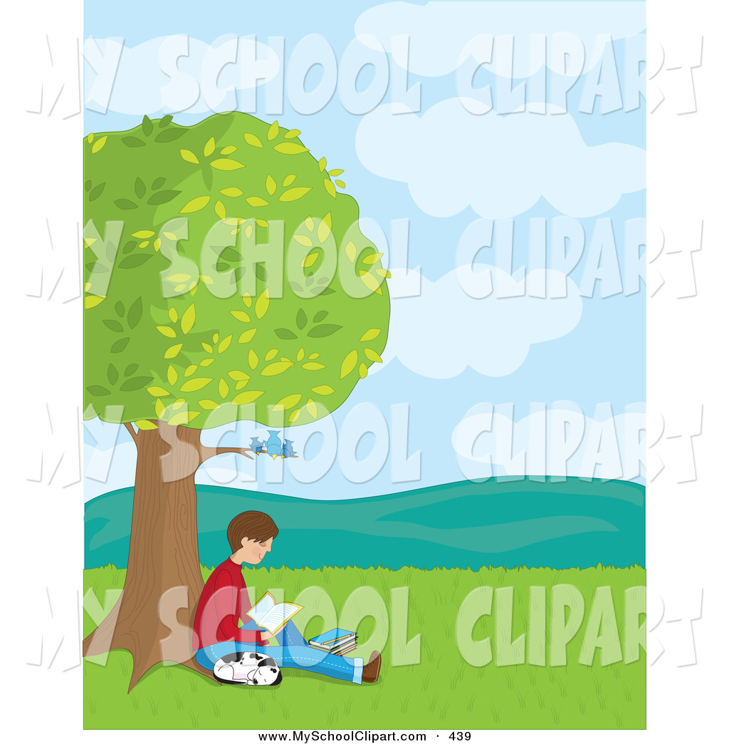 reading under tree christmas clipart clipart suggest