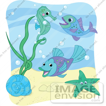 Sea Snail Starfish Fish And Seahorse With Bubbles Under The Sea With A