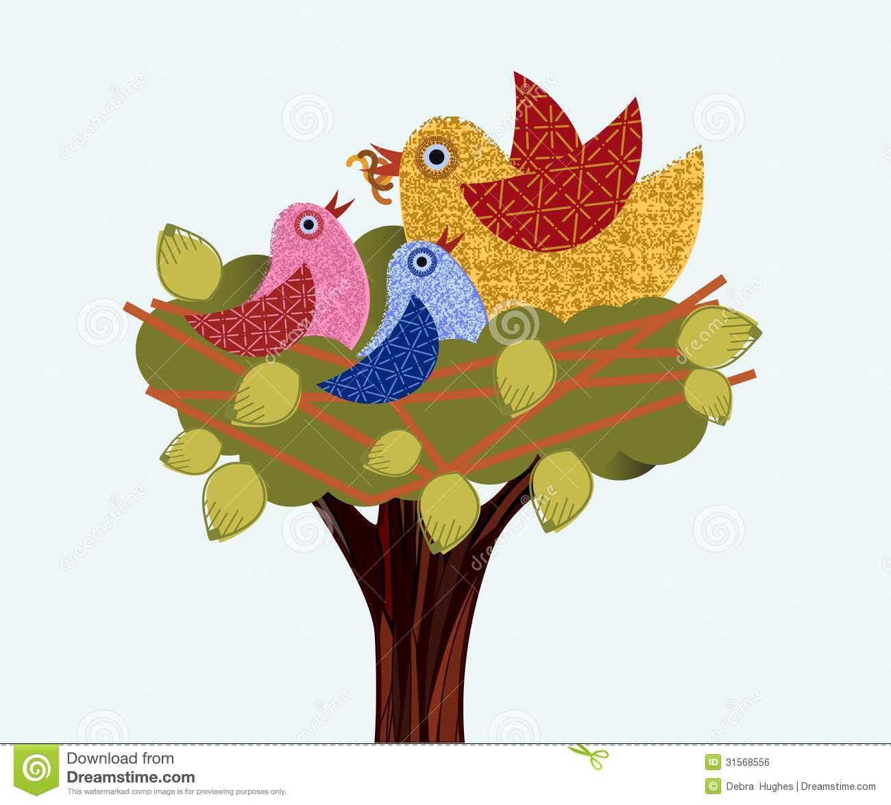 Sweet Birds Tree Mother Father Bird Feeding Babies Nest 31568556 Jpg