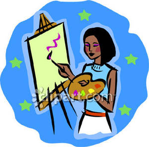 Teen Girl Painting   Royalty Free Clipart Picture