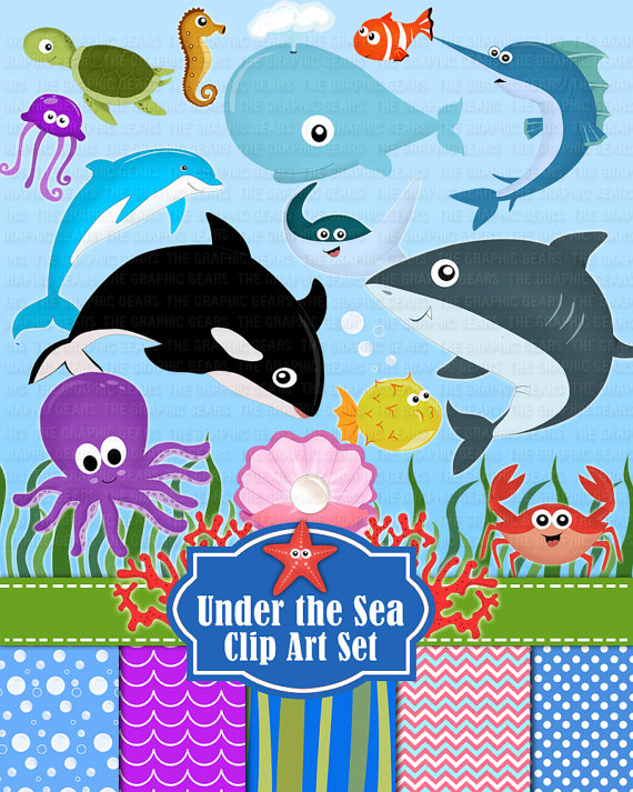 Under The Sea Animals Clip Art Deep Sea Creatures Clipart Set   Ocean