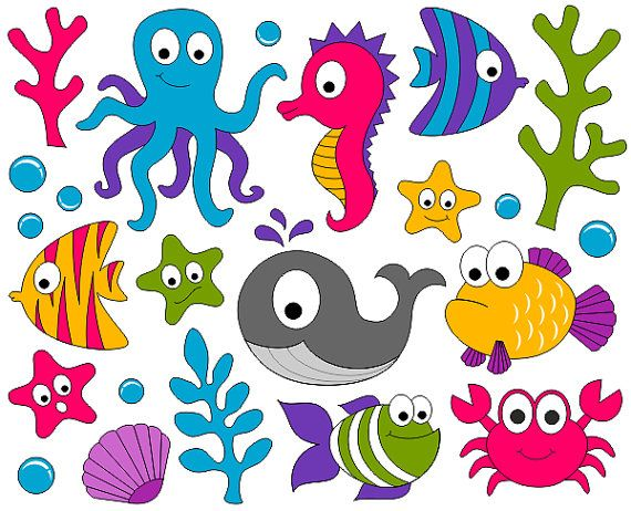 Under The Sea Clip Art   Ocean Digital Clipart   Fishes Whale Crab