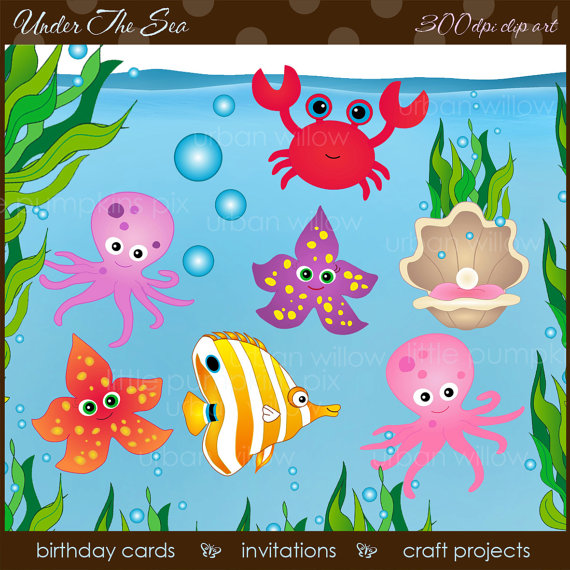 Under The Sea   Clip Art Plus Watery Background   Sea Weed Border  On